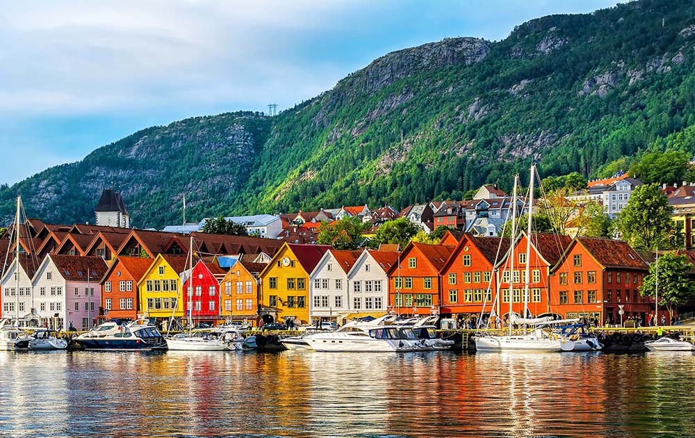 Bergen, Norway. View of historical buildings in Bryggen- Hanseat